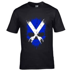 Premium Dripping Skull Scotland Scottish Flag Novelty Halloween Design Black t-shirt tshirt top