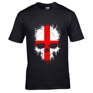 Premium Dripping Skull St Georges Cross Flag Novelty Halloween Design Black t-shirt tshirt top