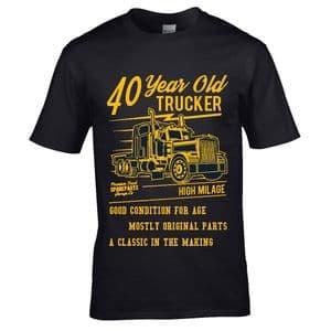 Premium Funny 40 Year Old Trucker Classic Truck Motif For 40th Birthday Anniversary gift t-shirt