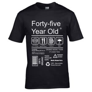 Premium Funny 45 Year Old Package Care Label Instructions Motif  45th Birthday Men's T-shirt Top