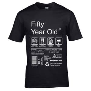 Premium Funny 50 Year Old Package Care Label Instructions Motif  50th Birthday Men's T-shirt Top