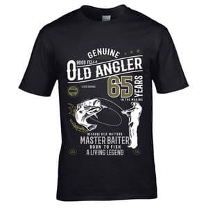 Premium Funny 65 Year Old Angler Fishing Motif For 65th Birthday Anniversary gift Men's T-shirt Top