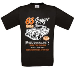 Premium Funny 65 Year Old Banger Classic Car Motif For 65th Birthday Anniversary gift mens t-shirt