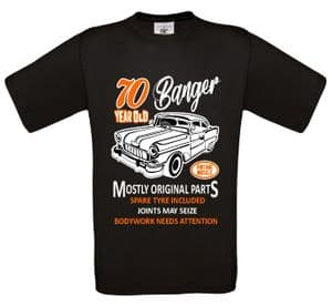 Premium Funny 70 Year Old Banger Classic Car Motif For 70th Birthday Anniversary gift mens t-shirt