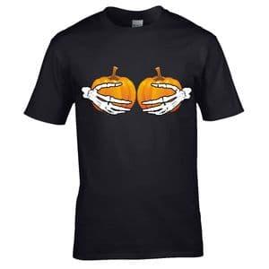 Premium Funny Halloween Pumpkin Boobies & Skeleton Hands Horror Design Black Unisex t-shirt top