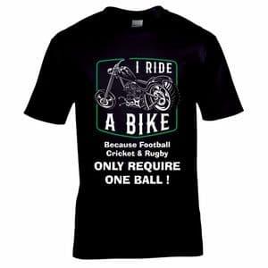 Premium Funny I Ride A Bike Because Football Cricket & Rugby Joke Old Biker Motif Gift T-shirt Top
