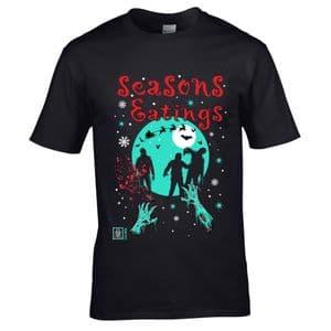 Premium Funny Joke Seasons Eatings Christmas Zombie Walker Retro B-Movie Style Motif Men's T-shirt