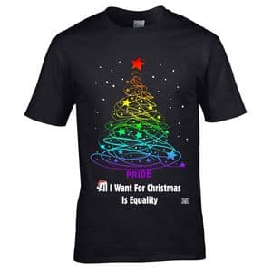 Premium Funny LGBT All I Want For Christmas is Equality Gay pride Rainbow Flag Xmas T-shirt Top
