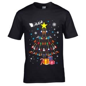 Premium Funny Rock Blues Heavy Metal Guitars Christmas Tree Guitarist Motif Men's Black T-shirt Top