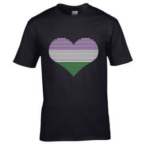 Premium LGBT Heart Design With Genderqueer Flag Motif Black t-shirt tshirt top