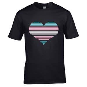 Premium LGBT Heart Design With Transgender Pride Flag Motif Black t-shirt tshirt top