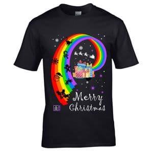 Premium LGBT Merry Christmas Gay Pride & Christmas icons LGBTQIA Motif Xmas T-shirt Top