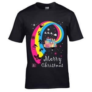 Premium LGBT Merry Christmas Pansexual Pride & Christmas icons LGBTQIA Motif Xmas T-shirt Top