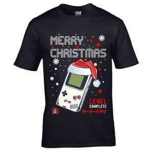 Premium Old School Gamer Christmas Santa Hat Design &  Level Complete Motif gift  t-shirt top
