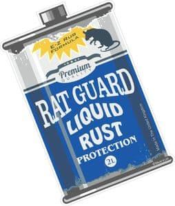 Rat Guard Liquid Rust RETRO OIL CAN Funny Design For Rat Look VW Vinyl Car sticker decal 110x70mm