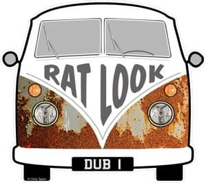 RAT LOOK Slogan For Retro SPLIT SCREEN VW Camper Van Bus Design External Vinyl Car Sticker 90x80mm