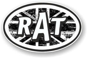 RAT Oval Funny Parody Design With B&W Union Jack British Flag Motif Vinyl Car sticker decal 120x77mm