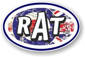 RAT Oval Funny Parody Design With RAF mod Target Motif Vinyl Car sticker decal 120x77mm
