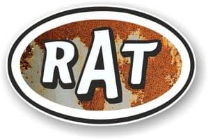 RAT Oval Funny Parody Design With Rusty Metal Motif Vinyl Car sticker decal 120x77mm