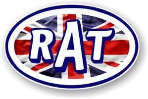 RAT Oval Funny Parody Design With Union Jack British Flag Vinyl Car sticker decal 120x77mm