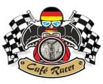 Retro CAFE RACER  Ton Up Club Design With Germany Flag Motif For German Bike External Vinyl Sticker 90x65mm