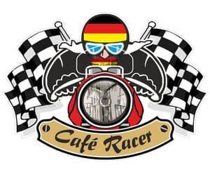 Retro CAFE RACER  Ton Up Club Design With Germany Flag Motif For German Bike External Vinyl Sticker 90x65mm