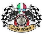 Retro CAFE RACER  Ton Up Club Design With Italy il tricolore Flag Motif For Italian Bike External Vinyl Sticker 90x65mm