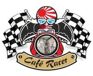 Retro CAFE RACER  Ton Up Club Design With Rising Sun Flag Motif For Japanese Bike External Vinyl Sticker 90x65mm