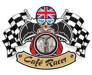 Retro CAFE RACER  Ton Up Club Design With Union Jack Flag Motif For British Bike External Vinyl Car Sticker 90x65mm