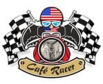 Retro CAFE RACER  Ton Up Club Design With US Stars & Stripes Flag Motif For American Bike External Vinyl Sticker 90x65mm
