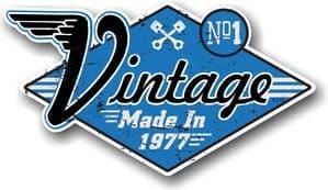 Retro Distressed Aged Vintage Made in 1977 Biker Style Motif External Vinyl Car Sticker 90x50mm