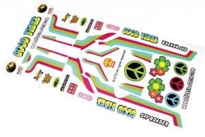 Retro Hippy Style Good Vibes themed vinyl stickers to fit R/C Tamiya Hornet