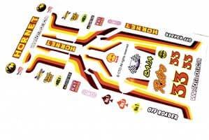 Retro Old School 70's Baja themed vinyl stickers to fit R/C Tamiya Hornet