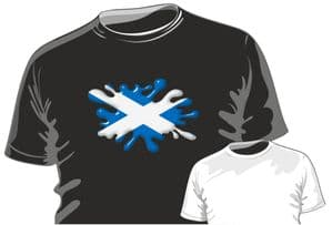 Retro SPLAT With Flag Scotland Scottish Saltire Motif Fun Novelty Design for mens or ladyfit t-shirt