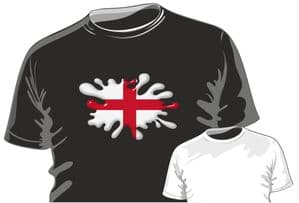 Retro SPLAT With St Georges Cross England Flag Motif Fun Novelty Design for mens or ladyfit t-shirt