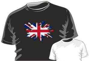 Retro SPLAT With Union Jack British Flag Motif Fun Novelty Design for mens or ladyfit t-shirt