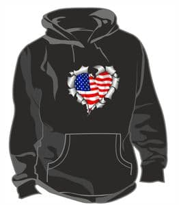 RIPPED METAL HEART Design With American Stars & Stripes US Flag Motif Unisex Hoodie