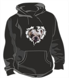 RIPPED METAL HEART Design With British Bulldog Bull Dog Motif Unisex Hoodie