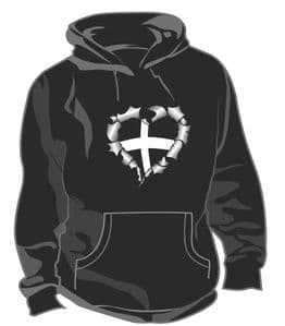 RIPPED METAL HEART Design With Cornwall Cornish County Flag Motif Unisex Hoodie
