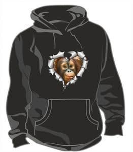 RIPPED METAL HEART Design With Cute Orangutan Baby Motif Unisex Hoodie