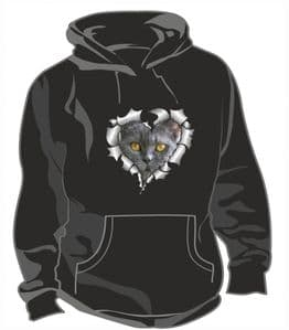 RIPPED METAL HEART Design With Grey Cat Kitten Face Motif Unisex Hoodie