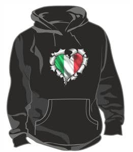 RIPPED METAL HEART Design With Italy Italian il Tricolore Flag Motif Unisex Hoodie