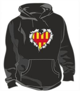 RIPPED METAL HEART Design With Northumberland County Flag Motif Unisex Hoodie
