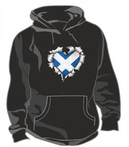 RIPPED METAL HEART Design With Scotland Scottish Saltire Flag Motif Unisex Hoodie