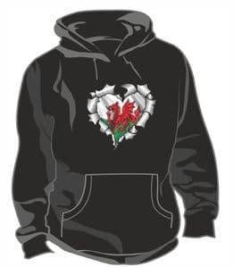 RIPPED METAL HEART Design With Welsh Wales CYMRU Flag Motif Unisex Hoodie