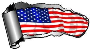 Ripped Open Gash Torn Metal Design With American Stars & Stripes US USA Flag Motif External Vinyl Car Sticker 140x75mm