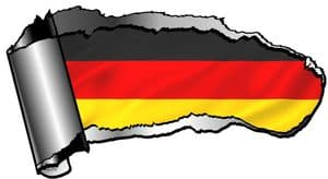 Ripped Open Gash Torn Metal Design With Germany German National flag Motif External Vinyl Car Sticker 140x75mm