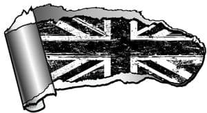Ripped Open Gash Torn Metal Design With Grunge B&W Union Jack Flag Motif Vinyl Car Sticker 140x75mm