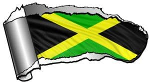 Ripped Open Gash Torn Metal Design With Jamaica Jamaican Country Motif Vinyl Car Sticker 140x75mm