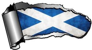 Ripped Open Gash Torn Metal Design With Scotland Scottish Saltire Flag Motif External Vinyl Car Sticker 140x75mm